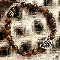 Tiger's eye beaded stretch bracelet, 'Stylized Jaguar' - Tiger's Eye Jaguar Beaded Stretch Bracelet from Mexico