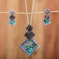 Sterling silver and glass jewelry set, 'Square Trio' - Square Pattern Sterling Silver and Glass Jewelry Set