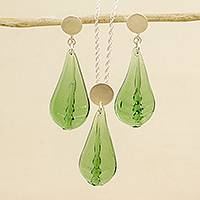 Sterling silver and glass jewelry set, 'Chromatic Beauty in Green' - Glass and Sterling Silver Jewelry Set in Green from Mexico