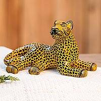 Ceramic sculpture, 'Keen Jaguar' - Yellow and Black Ceramic Jaguar Sculpture from Mexico