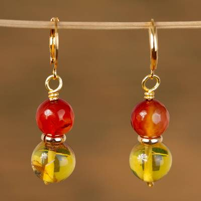 Gold accented agate and amber beaded dangle earrings, 'Wine Grapes' - Gold Accented Agate and Amber Beaded Dangle Earrings