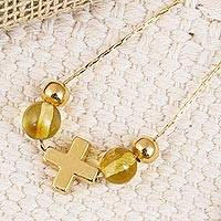 Gold plated amber pendant necklace, 'Ancient Cross' - Gold Plated Amber Cross Pendant Necklace from Mexico