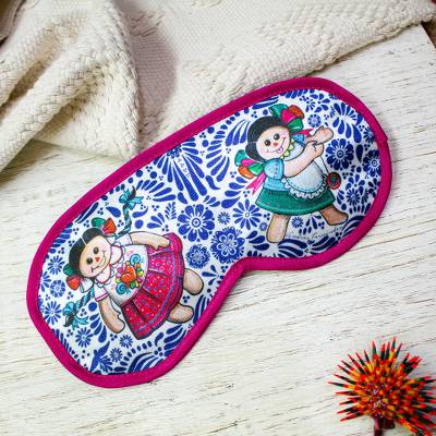 Cotton accented satin sleep mask, 'Talavera Dreams' - Talavera Motif Cotton Accented Satin Sleep Mask from Mexico