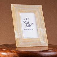 Onyx photo frame, 'Amber Stripes' (4x6) - Striped Onyx Photo Frame from Mexico (4x6)