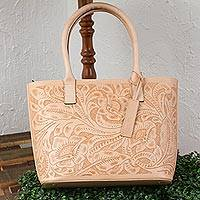 Leather shoulder bag, 'Floral Ancestry in Buff' - Floral Pattern Leather Shoulder Bag in Buff from Mexico