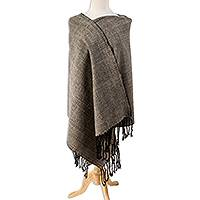 Wool blend rebozo shawl, 'Pale Grey Fascination' - Pale Grey and Black Wool Blend Rebozo Shawl from Mexico
