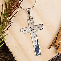 Sterling silver pendant necklace, 'Cross of Delight' (2.5 inch) - Taxco Sterling Silver Cross Pendant Necklace (2.5 in.)