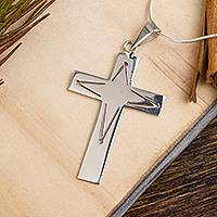 Sterling silver pendant necklace, 'Cross of Illusion' (2 inch) - Taxco Silver Cross Pendant Necklace from Mexico (2 in.)