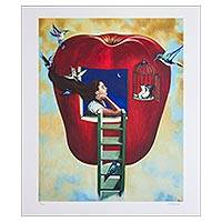 Print, 'The Third Voyage - Signed Surrealist Print of a Girl in an Apple from Mexico