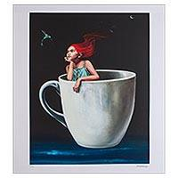 Print, 'Coffee with Cinnamon' - Signed Surrealist Print of a Girl in a Coffee Cup