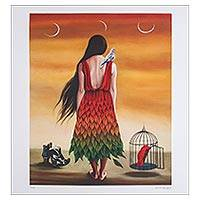 Print, 'Three Moons' - Signed Surrealist Print by a Mexican Artist