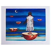 Half Horizons' - Fruit-Themed Signed Surrealist Print from Mexico