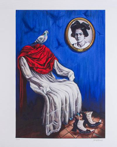 Print, 'The Little Frida' - Signed Frida-Themed Surrealist Print from Mexico