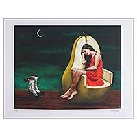 Print, 'The Hope' - Surrealist Print of a Girl Sitting in a Pear from Mexico