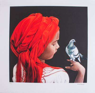 Print, 'The Chat' - Limited Edition Print of a Girl with a Bird