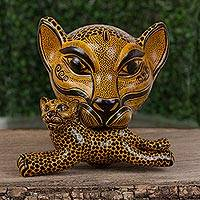 Ceramic wall sculpture, 'Jaguar Mama in Amber' (large) - Ceramic Jaguar Mother Wall Sculpture in Amber (Large)