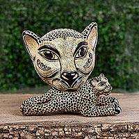 Ceramic wall sculpture, 'Jaguar Mama in Ochre' (large) - Ceramic Jaguar Mother Wall Sculpture in Ochre (Large)