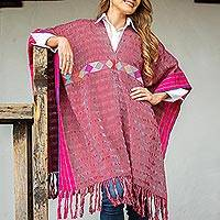 Cotton poncho, 'Autumn in the Afternoon' - Handwoven Geometric Cotton Poncho in Claret from Mexico