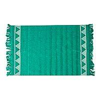 Cotton table runner, 'Jade Mountains' - Triangle Pattern Cotton Table Runner in Viridian from Mexico