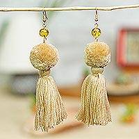 Amber and cotton dangle earrings, 'Lovely Tassels in Ivory' - Amber and Cotton Dangle Earrings in Ivory from Mexico