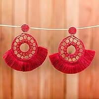 Glass beaded fabric earrings, 'Crimson Style' - Glass Beaded Fabric Earrings in Crimson from Mexico