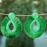 Fabric dangle earrings, 'Frilly Green Drops' - Drop-Shaped Frilly Fabric Dangle Earrings from Mexico