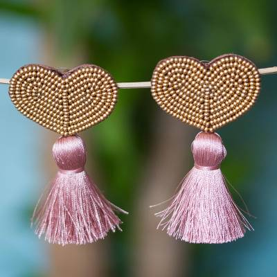 Glass beaded drop earrings, 'Tasseled Hearts' - Heart-Shaped Glass Beaded Drop Earrings with Mauve Tassels