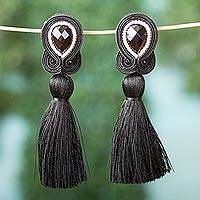Glass beaded drop earrings, 'Midnight Elegance' - Glass Beaded Drop Earrings with Tassels in Black from Mexico