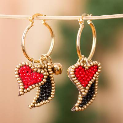 Gold accented glass beaded dangle earrings, 'Charm of the Heart' - Gold Accented Glass Beaded Heart Earrings from Mexico