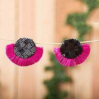 Glass beaded button earrings, 'Frilly Moons' - Glass Beaded Button Earrings with Magenta Frills from Mexico