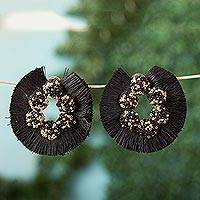 Glass beaded drop earrings, 'Elegant Frill' - Glass Beaded Drop Earrings with Black Frills from Mexico