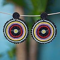 Glass beaded dangle earrings, 'Circular Rainbow' - Colorful Glass Beaded Dangle Earrings from Mexico