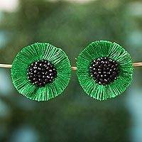 Glass beaded button earrings, 'Avocado Frill' - Glass Beaded Button Earrings with Avocado Frill from Mexico