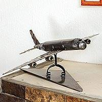 Upcycled metal auto part sculpture, 'Airline' - Upcycled Metal Auto Part Jet Sculpture from Mexico