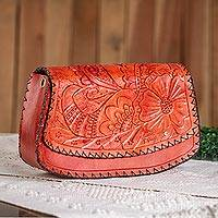 Leather handbag, 'Light Red Flowers' - Light Red Floral Leather Handbag from Mexico