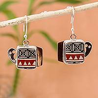 Silver and ceramic dangle earrings, 'Paquime Tradition' - Hand-Painted Cultural Silver and Ceramic Dangle Earrings