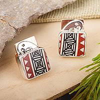 Silver and ceramic cufflinks, 'Paquime Tradition' - Hand-Painted Cultural Silver and Ceramic Cufflinks
