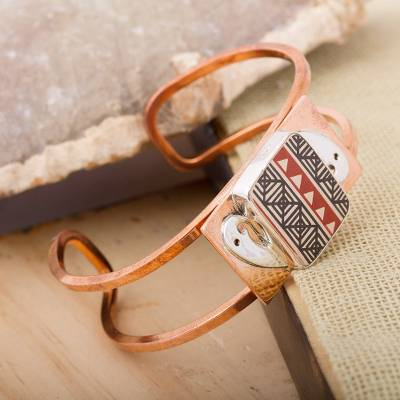 Copper and ceramic cuff bracelet, 'Paquime Tradition' - Hand-Painted Cultural Copper and Ceramic Cuff Bracelet