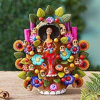 Ceramic sculpture, 'Catrina Tree of Life' - Hand-Painted Catrina-Themed Ceramic Sculpture from Mexico