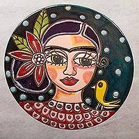 Ceramic wall art, 'Serene Frida' - Frida Kahlo Ceramic Decorative Plate Crafted in Mexico