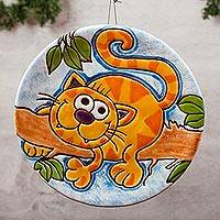 Ceramic wall art, 'Adventurous Cat' - Handmade Whimsical Ceramic Wall Art of a Cat from Mexico