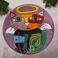 Ceramic wall art, 'Angelic Kitty' - Handcrafted Ceramic Angel Cat Wall Art from Mexico