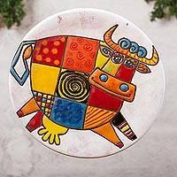 Ceramic wall art, 'Whimsical Cow' - Whimsical Cow-Themed Ceramic Wall Art from Mexico