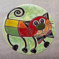 Ceramic wall art, 'Bow Tie Cat' - Whimsical Cat-Themed Ceramic Wall Art from Mexico