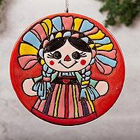 Ceramic wall art, 'Lovely Doll' - Doll-Themed Ceramic Wall Art Crafted in Mexico