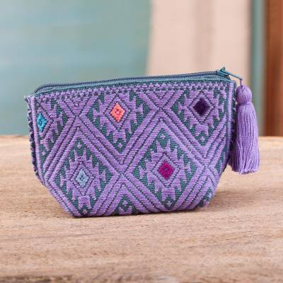 Cotton coin purse, 'Violet Designs' - Geometric Violet Cotton Coin Purse from Mexico