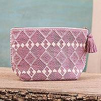 Cotton cosmetic bag, 'Geometric Meditation' - Dusty Lilac Geometric Cotton Cosmetic Bag from Mexico