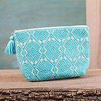 Cotton cosmetic bag, 'Fascinating Traditions' - Turquoise Geometric Cotton Cosmetic Bag from Mexico