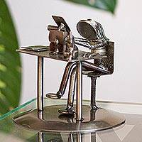 Upcycled metal auto part sculpture, 'Secretary' - Upcycled Metal Auto Part Secretary Sculpture from Mexico
