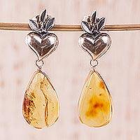 Amber dangle earrings, 'Ancient Holy Hearts' - Amber Flaming Heart Dangle Earrings from Mexico